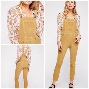 New Free People Slim Ankle Cord Overalls